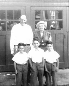 The Markey family in 1952: Edward flanked by his brothers Richard (left) and John, with their parents, John and Christina.
